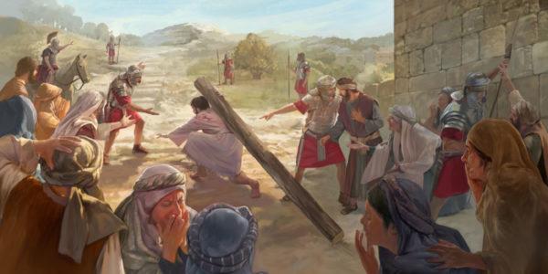 Иисус Христос несет столб мучений на казнь римские воины подгоняют люди плачут